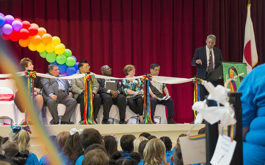 DODEA director Thomas Brady speaks at the official opening of the new Zukeran Elementary School at Camp Foster, Okinawa, Wednesday, Oct. 10, 2018.