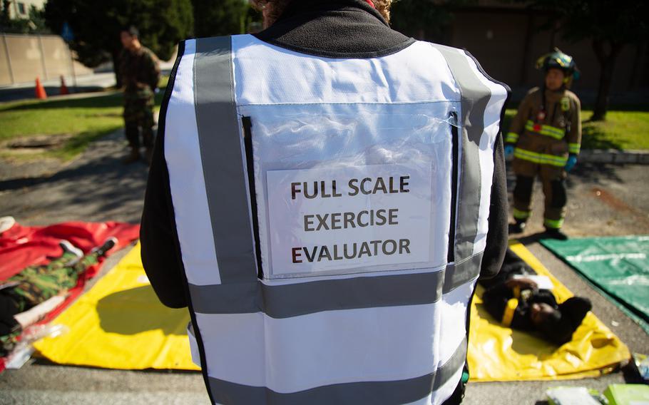 Evaluators observe a base readiness exercise at Yongsan Garrison in Seoul, South Korea, Thursday, Oct. 11, 2018.
