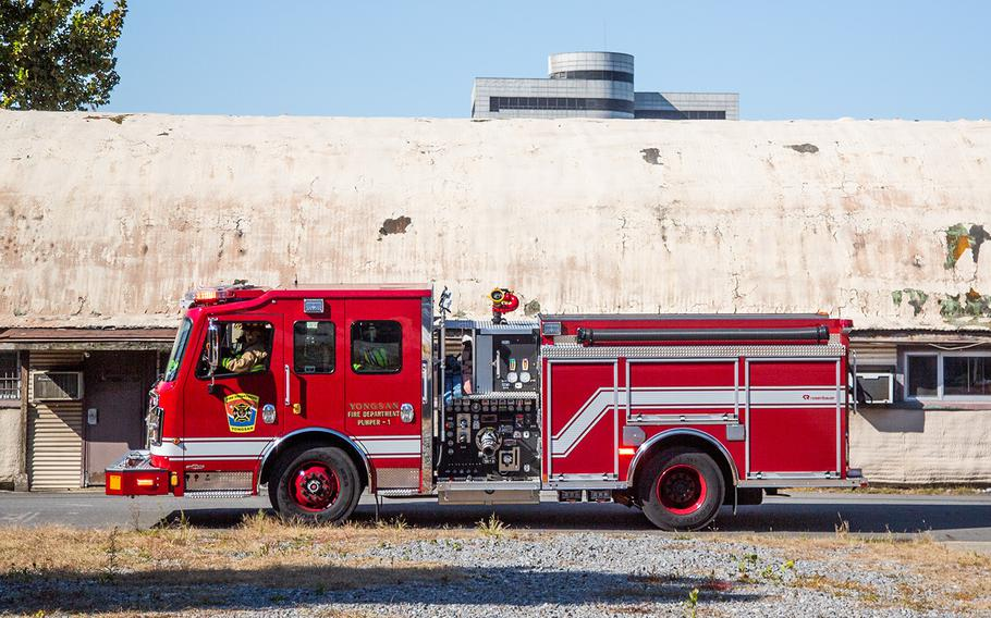 A firetruck is used in an exercise at Yongsan Garrison in Seoul, South Korea, Thursday, Oct. 11, 2018.