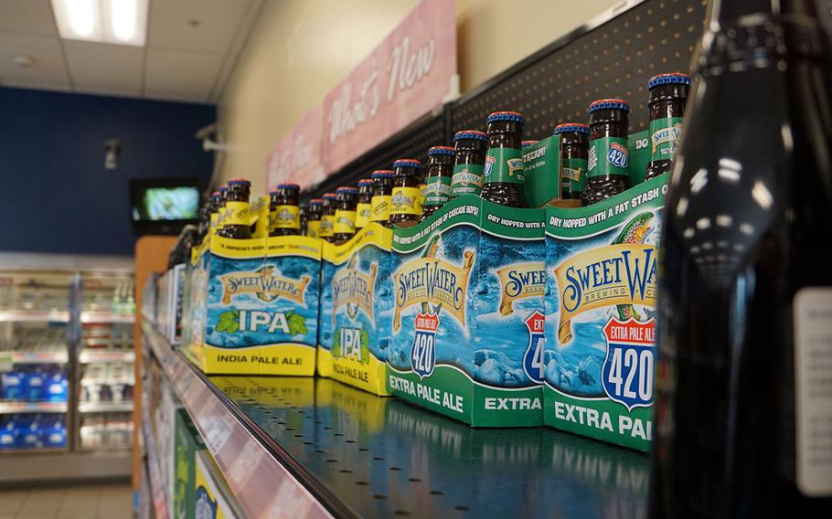 Beer and wine line the racks at a shoppette on Yokota Air Base, Japan, Tuesday, Oct. 23, 2018.
