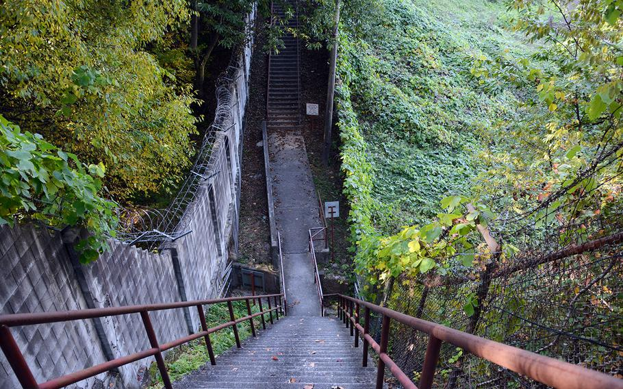 A section of the Green Mile, a running trail consisting of steep stairs along the edge of Camp Red Cloud, is seen on Sunday, Oct. 21, 2018.