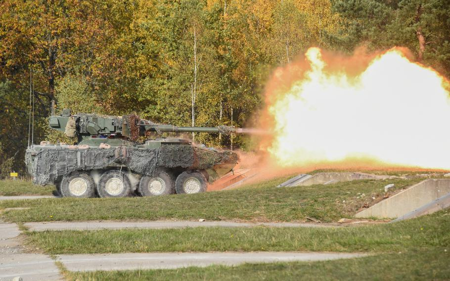 U.S. soldiers assigned to 2nd Cavalry Regiment fire a M1128 Mobile Gun System during exercise Dragoon Ready at the 7th Army Training Command's Grafenwoehr training area, Germany, Oct. 17, 2018.