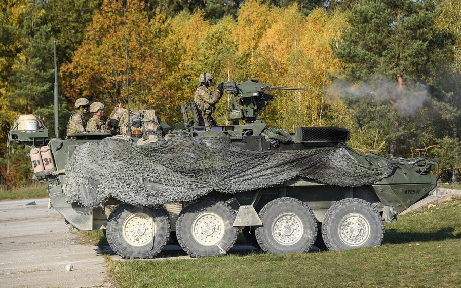 U.S. soldiers assigned to 2nd Cavalry Regiment fire an M2 .50-caliber machine gun during exercise Dragoon Ready at the 7th Army Training Command's Grafenwoehr training area, Germany, Oct. 17, 2018.