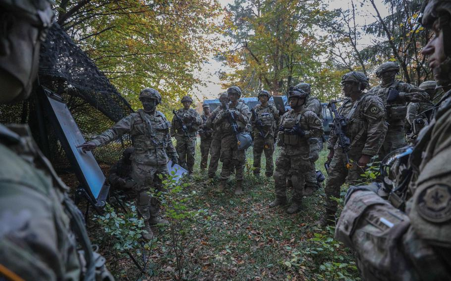 Chief Warrant Officer 3 Mendez Frith, 2nd Cavalry Regiment targeting officer, leads the first targeting working group during Dragoon Ready at the Joint Multinational Readiness Center, Hohenfels, Germany, Oct. 20, 2018.