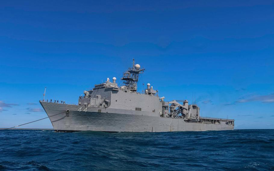 The USS Gunston Hall was damaged by rough seas earlier this week while participating in NATO exercise Trident Juncture in the North Atlantic.