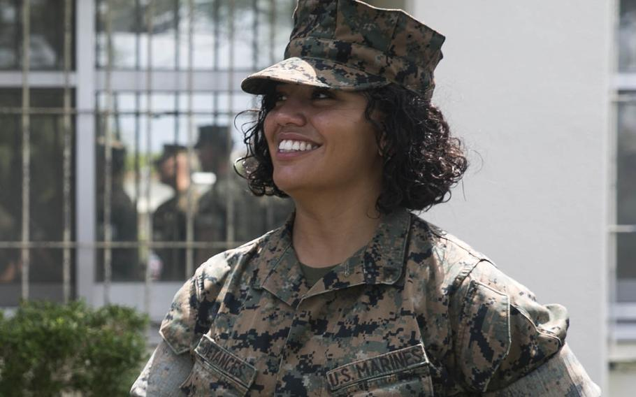 Lance Cpl. Alexis Betances was a part of the winning design team on the Okinawa-based 31st Marine Expeditionary Unit's new insignia, which was unveiled Friday, Oct. 26, 2018.