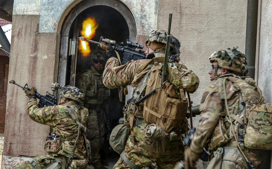 U.S. soldiers with the 2nd Battalion, 503rd Infantry Regiment, during exercise Saber Junction at Hohenfels training area, Germany, Sept. 26, 2018. A new Army strategy calls for a faster force that will be subjected to more unpredictable mobilizations to ensure the service can quickly mobilize for a major war.