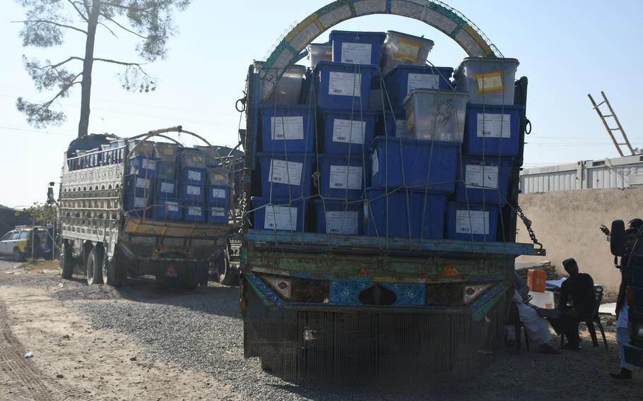 Election material about to be transported to polling stations in Kandahar on Friday, Oct. 26, 2018.