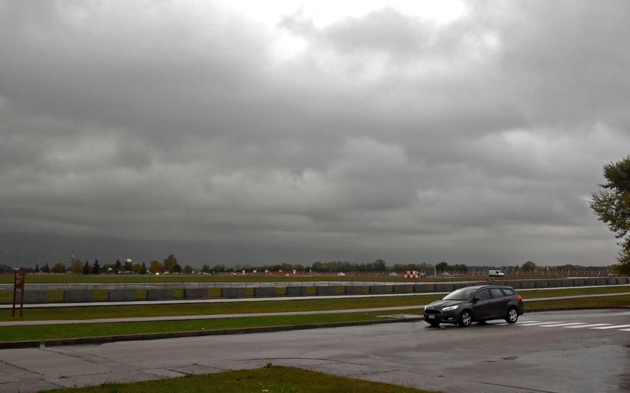 Aviano Air Base was covered by heavy cloud cover on Monday, Oct. 29, 2018.