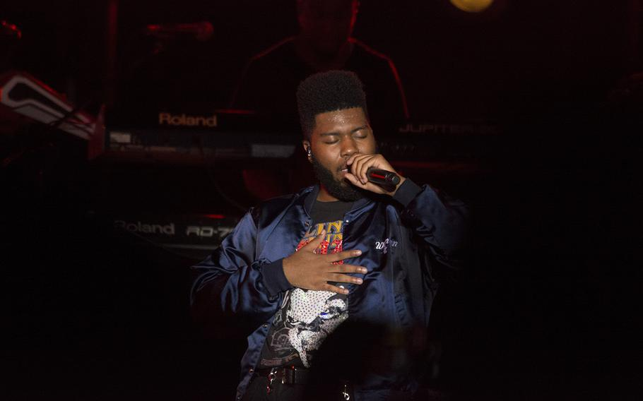 Khalid performs for servicemembers and their families at Kadena Air Base, Okinawa, Oct. 26, 2018.
