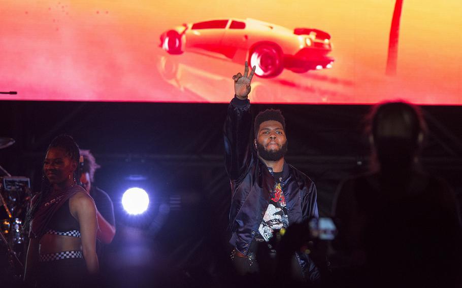 Former U.S. military dependent Khalid performs at Kadena Air Base, Okinawa, Oct. 26, 2018.