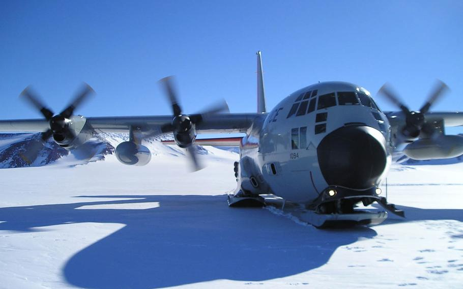 A New York Air National Guard LC-130 cargo plane taxis on skis in Antarctica in this undated photo.