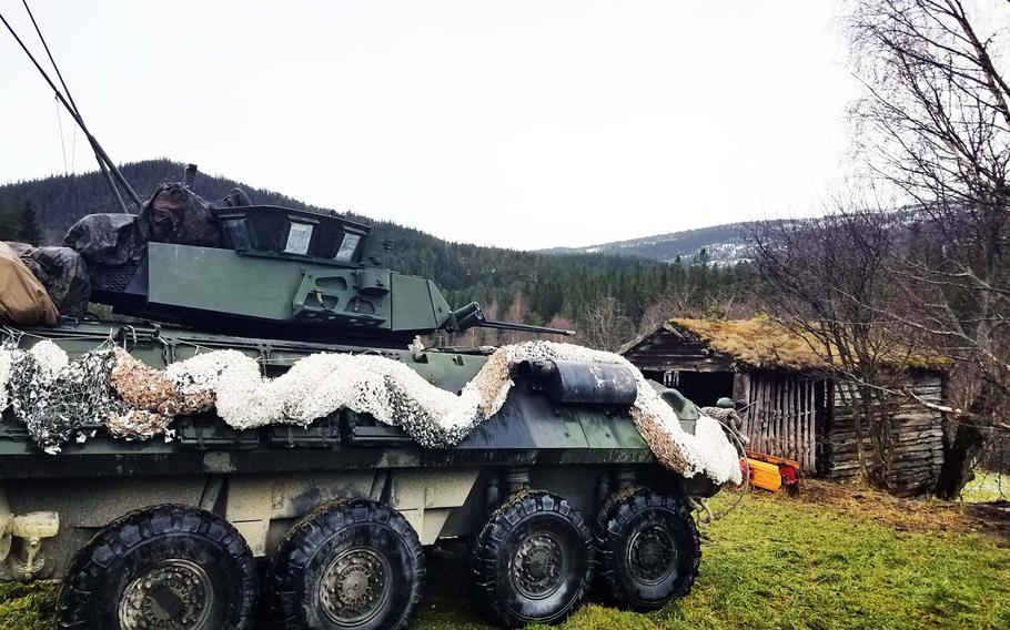 A Marine LAV-25 at one of the battle positions, at Exercise Trident Juncture, near Rennebu, Norway, Wednesday, Oct. 31, 2018.