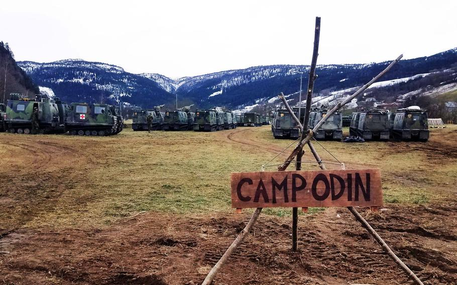 """A Marine and Norwegian Army camp, at Exercise Trident Juncture, where the Norwegians have nicknamed """"Camp Odin"""", near Rennebu, Norway, Wednesday, Oct. 31, 2018."""