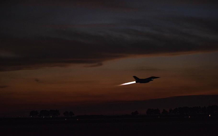 An F-16 Fighting Falcon from the 80th Fighter Squadron takes off from Kunsan Air Base, South Korea, Oct. 4, 2018.