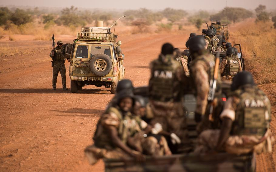 Soldiers participate in the special operations exercise Flintlock 18 in Niger on April 15, 2018. The exercise followed an October 2017 incident where four U.S. soldiers were ambushed and killed in Niger.  Jeremiah Runser/U.S. Army