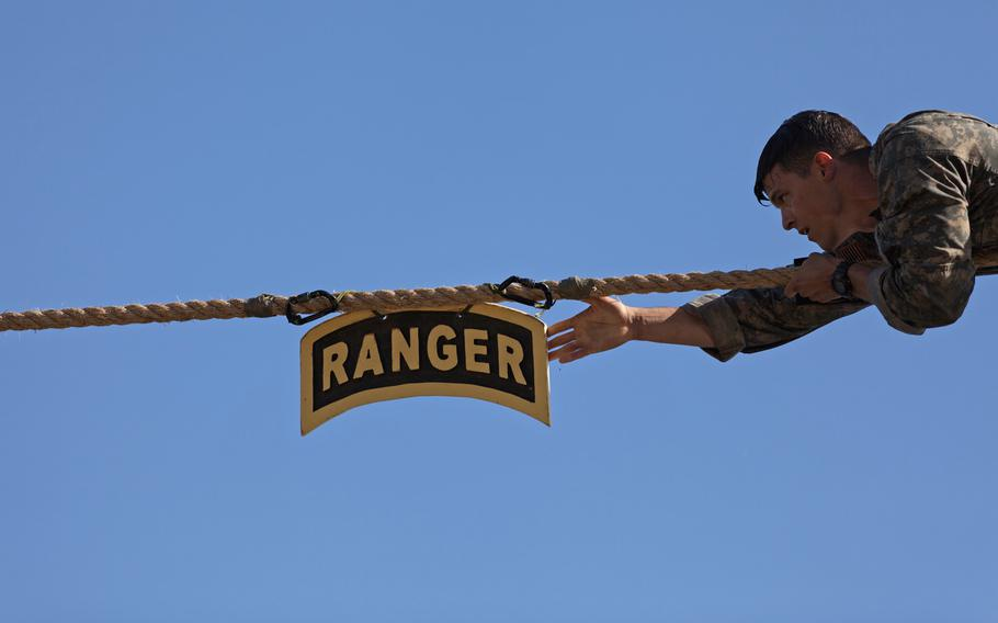 A U.S. Army Ranger touches the Ranger tab during the Best Ranger Competition, at Fort Benning, Ga., April 9, 2017.