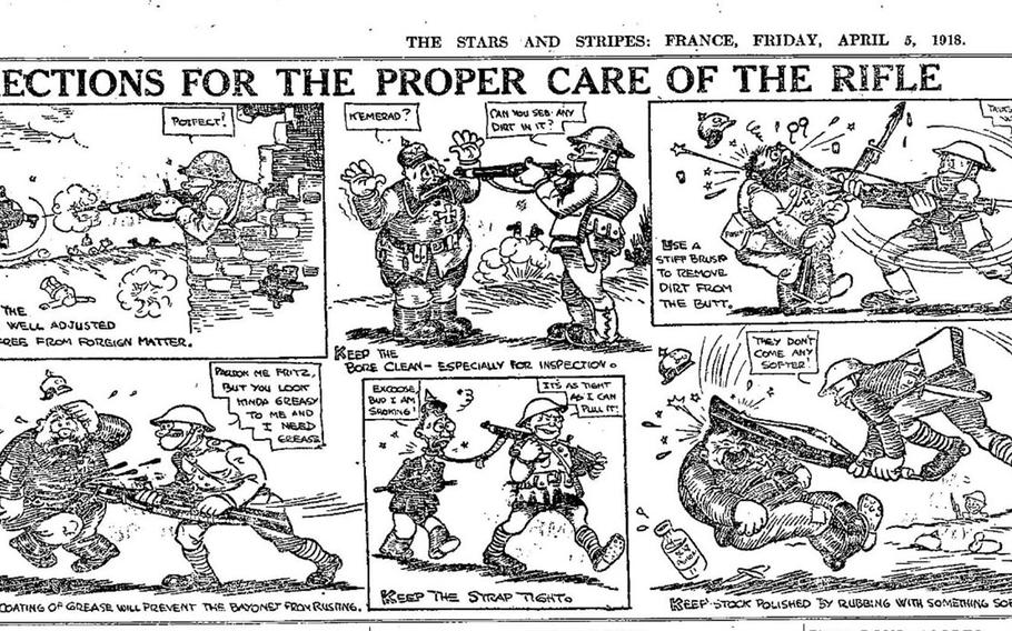 """""""Directions for the proper care of the rifle"""" from April 5, 1918, includes drawings of dead enemy soldiers and Americans shooting, bayonetting and striking German troops."""