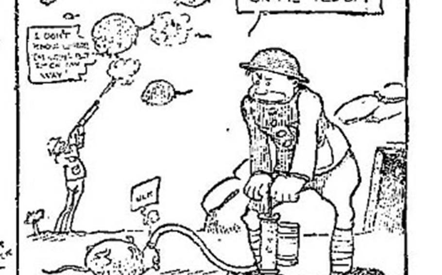 """Marine Pvt. Abian """"Wally"""" Wallgren's """"Helpful Hints"""" comics ran in Stars and Stripes during World War I, making fun of rules and regulations and the contrasting lifestyles of the brass and frontline troops."""