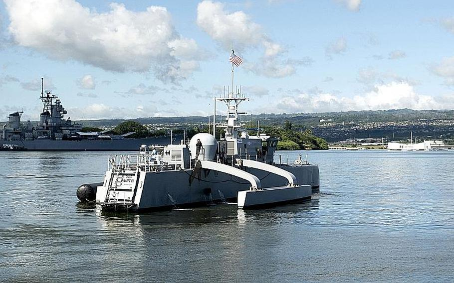 The Medium Displacement Unmanned Surface Vehicle prototype Sea Hunter arrives at Joint Base Pearl Harbor-Hickam, Hawaii, Oct. 31, 2018.