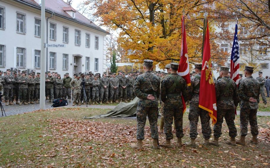 The parade ground at Marine headquarter in Boeblingen, Germany was named ?Devil Dog Field and a memorial was dedicated Thursday for troops who fought in World War I. The memorial features two stones from Belleau Wood France, a legendary battle in which Marines fought.    John Reese/U.S. Army