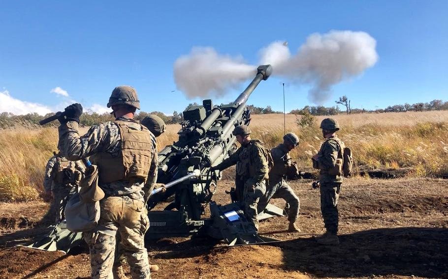 Okinawa-based Marines take part in a recent Artillery Relocation Training Program exercise at Camp Fuji, Japan.