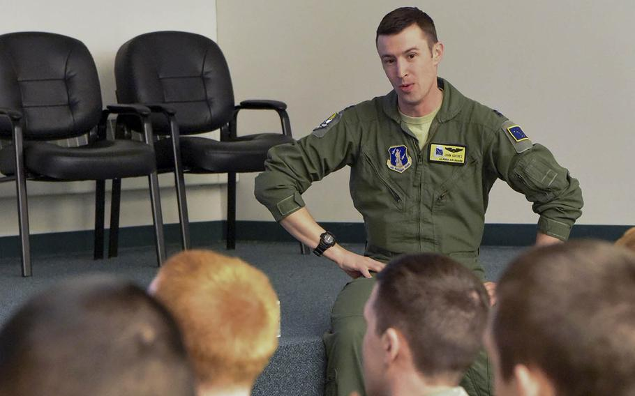 Capt. John Goeres speaks to Air Force Junior Reserve Officer Training Corps cadets at Eielson Air Force Base, Alaska, May 4, 2017. Goeres was pronounced dead earlier last week after being found unresponsive near Guam's Tumon Bay.