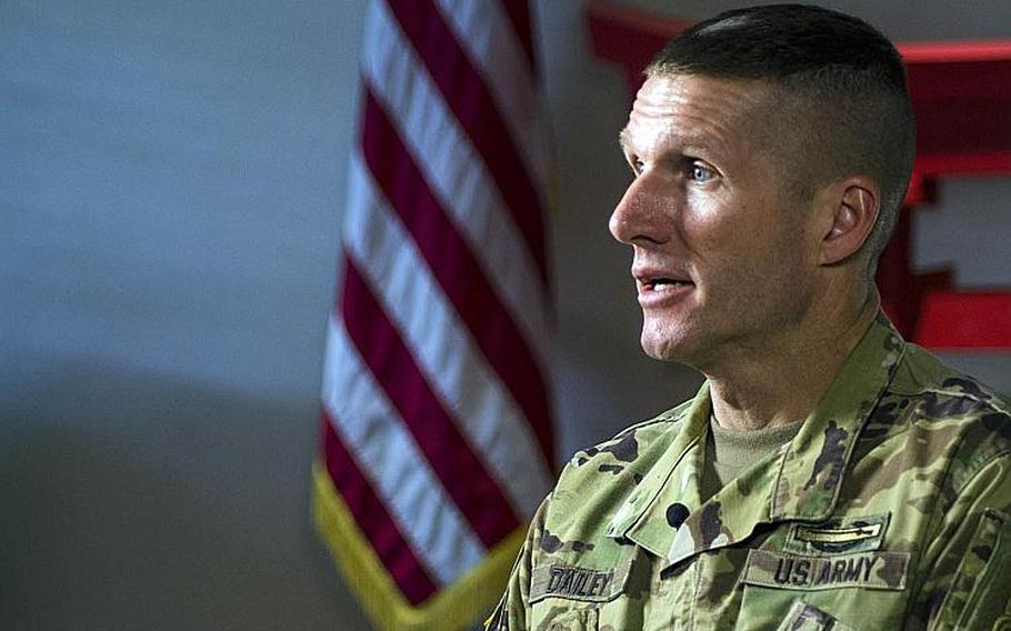 Sergeant Major of the Army Daniel Dailey speaks to reporters at Camp Zama, Japan, Wednesday, Nov. 14, 2018.