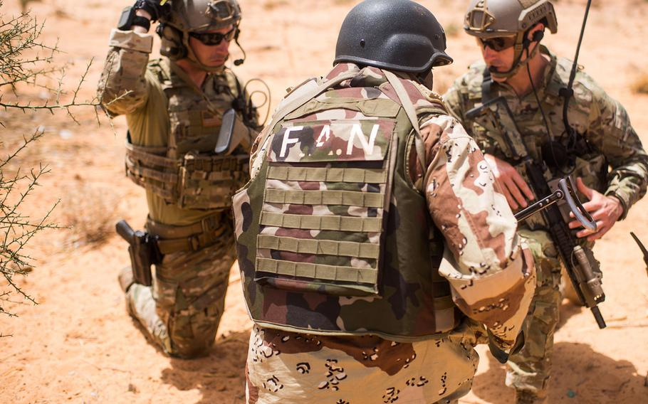 Nigerien Armed Forces train with 20th Special Forces Group  during Flintlock 18 in Niger, Africa on April 16, 2018. The Pentagon has decided to cut about 700 troops in Africa because of other priorities.