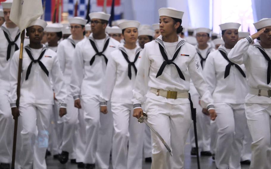 Sailors march during a recent boot camp at Recruit Training Command in Great Lakes, Ill.