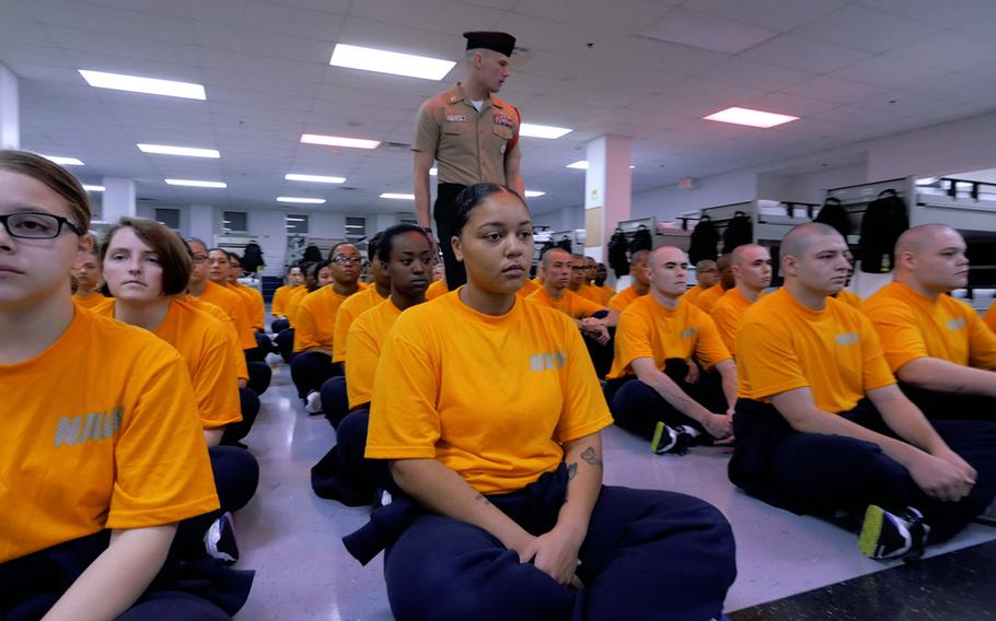 Petty Officer1st Class Joseph Sperry, recruit division commander at Recruit Training Command, speaks to future sailors during a recent boot camp in Great Lakes, Ill.