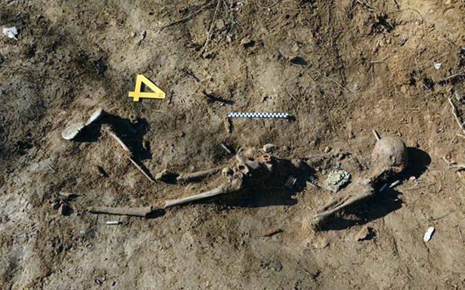 South Korea announced Monday, Nov. 19, 2018, it has found five more sets of remains from troops killed in the 1950-53 Korean War in the Demilitarized Zone. Pictured is a skeleton that remains largely intact.