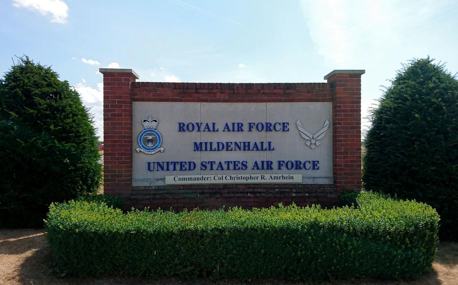 The main entrance to RAF Mildenhall, England, Monday, July 16, 2018.