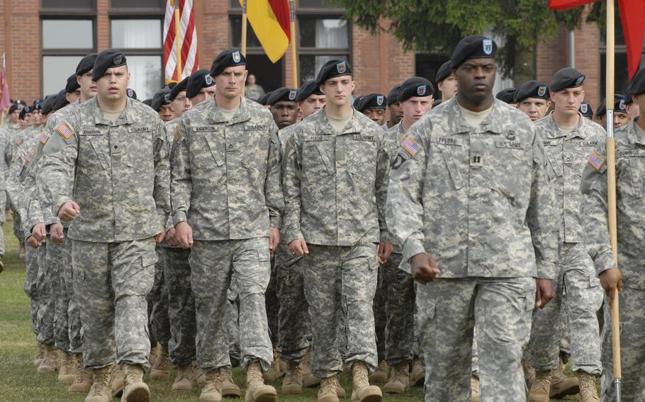 Soldiers of 1st Battalion, 94th Field Artillery Regiment  pass in review as the unit cased its colors in May 2008 at Strassburg Kaserne in Idar-Oberstein, Germany. It was the las unit at the now-shuttered base. According to the German newspaper Rhein-Zeitung, the Army has looked at six buildings on the base as part of a survey to find buildings appropriate for housing options.
