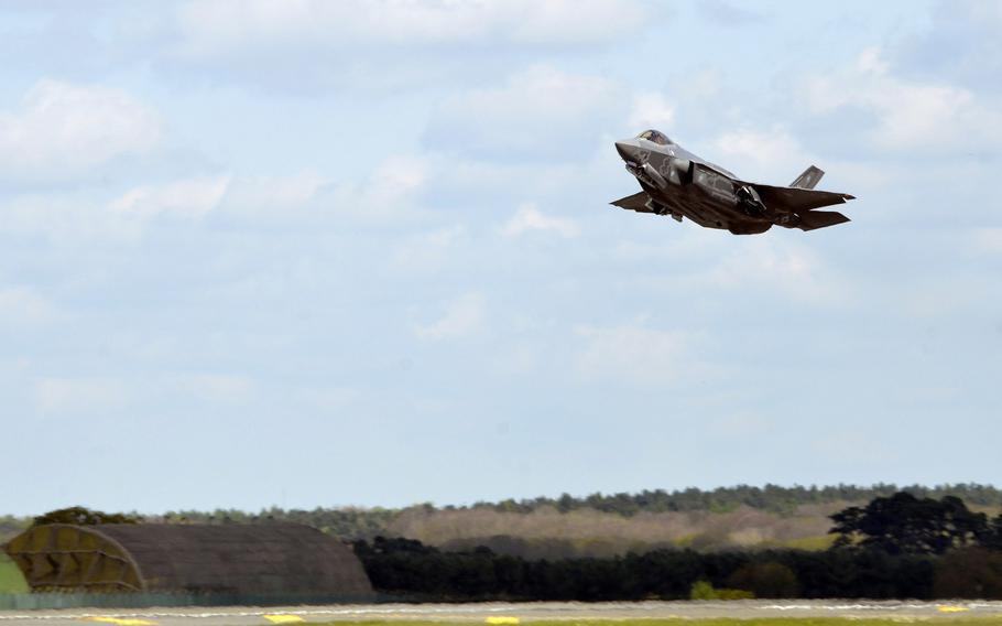 A U.S. Air Force F-35A Lightning II fighter jet takes off from RAF Lakenheath, England, Wednesday, April 19, 2017. A  construction contract has been signed to deliver infrastructure to ready RAF Lakenheath for two squadrons of F-35 Lightning aircraft.