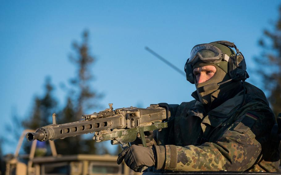 A German corporal with the NATO Readiness Joint Task Force trains with other NATO allies at the Rena training area in Norway on Oct. 27, 2018 during exercise Trident Juncture 18. The leaders of Germany and  France have proposed setting up a European army.