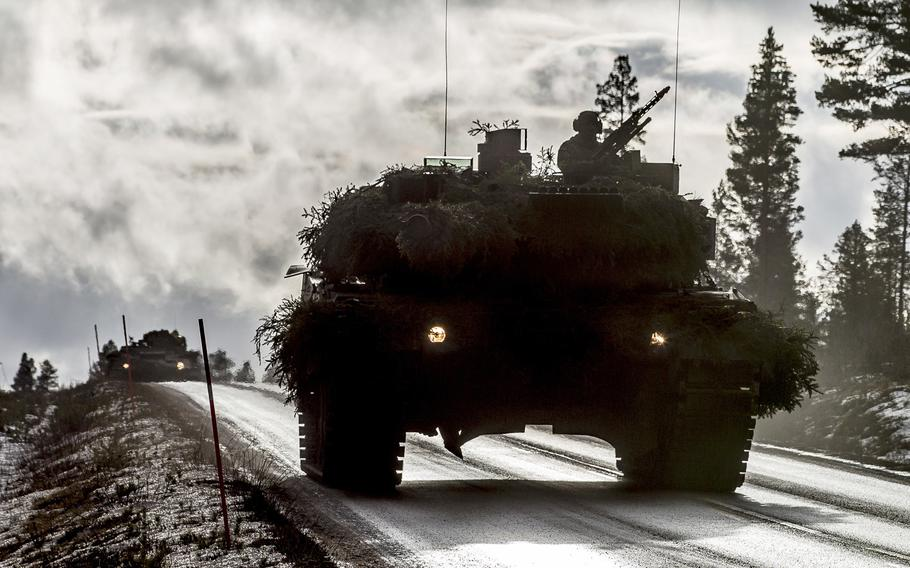 An armored platoon of the German Battlegroup attacks with main battle tank Leopard 2 from the Norwegian city of Engerdal towards Drevsjo during NATO exercise Trident Juncture in Norway, November 04, 2018. The leaders of Germany and  France have proposed setting up a European army.