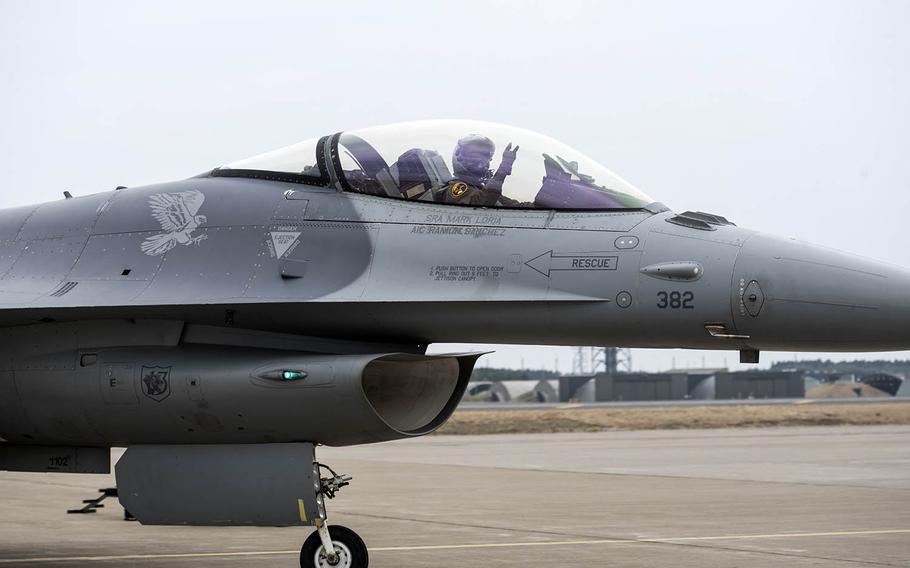 An F-16 prepares for takeoff at Misawa Air Base, Japan, April 18, 2018.