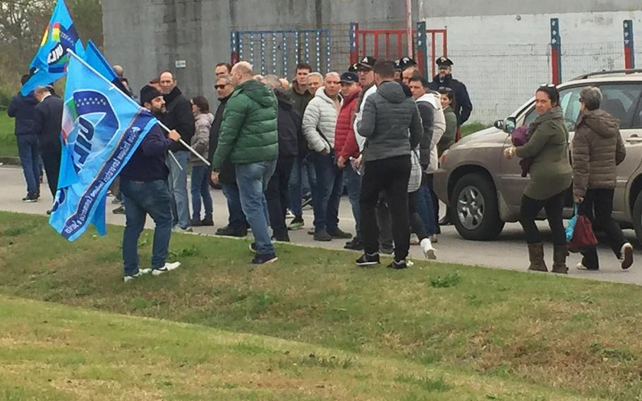 Striking Italian union workers hinder heavy Black Friday traffic going into the Navy Support Site in Naples, Italy on Nov. 23, 2018. Workers are unhappy about Italian employment levels on base and what they say is lack of communication with managers and human resources.