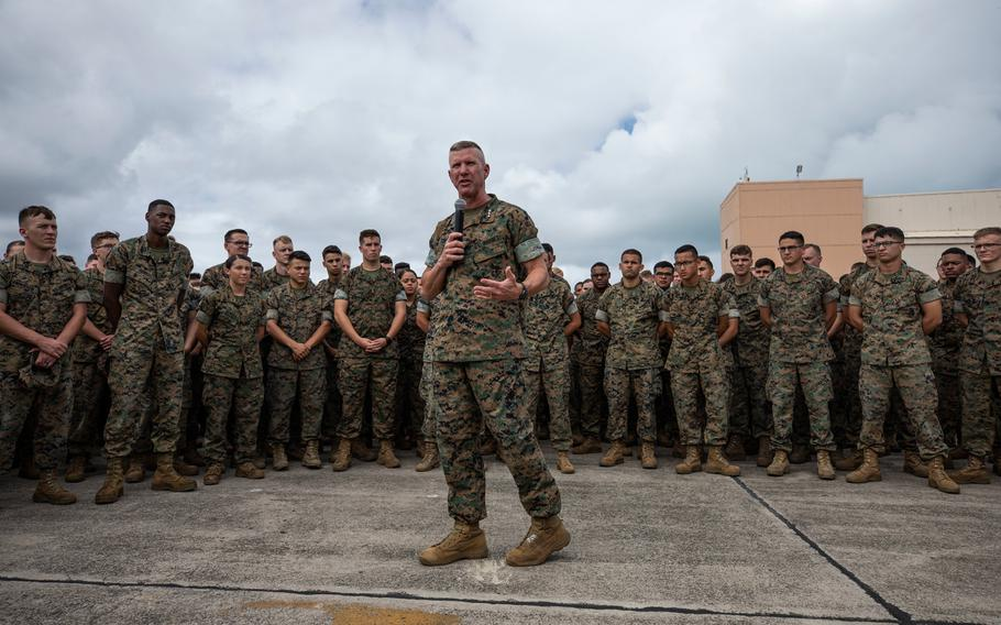 U.S. Marine Corps Lt. Gen. Eric Smith, commander of III Marine Expeditionary Force and Marine Forces Japan, speaks at Marine Corps Base Hawaii, Oct. 25, 2018.