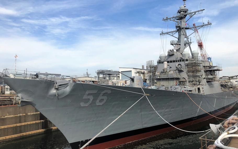 The USS John S. McCain has been undergoing repairs at Yokosuka Naval Base, Japan, since its deadly collision with a merchant ship in August 2017.