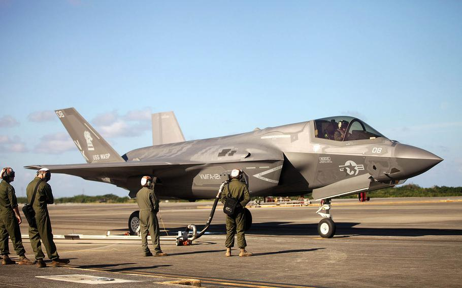An F-35B Lightning II refuels at Marine Corps Air Station Futenma, Okinawa, Tuesday, Nov. 27, 2018. The F-35B landed, refueled and took off for the first time at Futenma.
