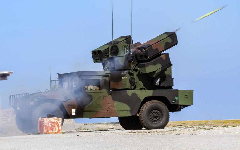 An Avenger unit from 2nd Battalion, 263rd Air Defense Artillery Regiment fires a Stinger missile during Artemis Strike, a live-fire exercise at the NATO Missile Firing Installation on Crete, Nov. 6, 2017, during their rotation in Europe. On Wednesday, the Army stood up a Short Range Air Defense unit in Germany, the first such unit to be stationed in Germany since the 90s.