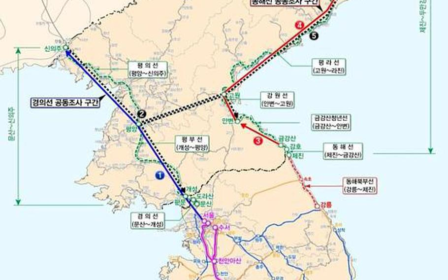 This map shows the western Gyeongui Line joint survey section (marked by the thick blue line) and the eastern Donghae joint survey section (marked by the thick red line).