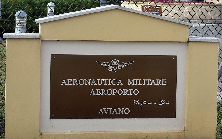 A sign at the main gate of Aviano Air Base, Italy. An airman found dead early Monday was identified as Airman 1st Class Owen Little, a member of the 31st Maintenance Squadron.