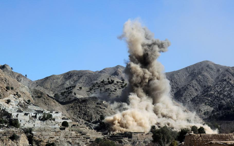 An airstrike supports Afghan commandos clearing out Islamic State fighters and fighting positions in Pekha Valley, Achin district, Nangarhar province, Afghanistan, Feb. 17, 2018. The U.S. dropped more bombs and other munitions in Afghanistan during the first ten months 2018 than in any other full year since at least 2006, when documentation began.