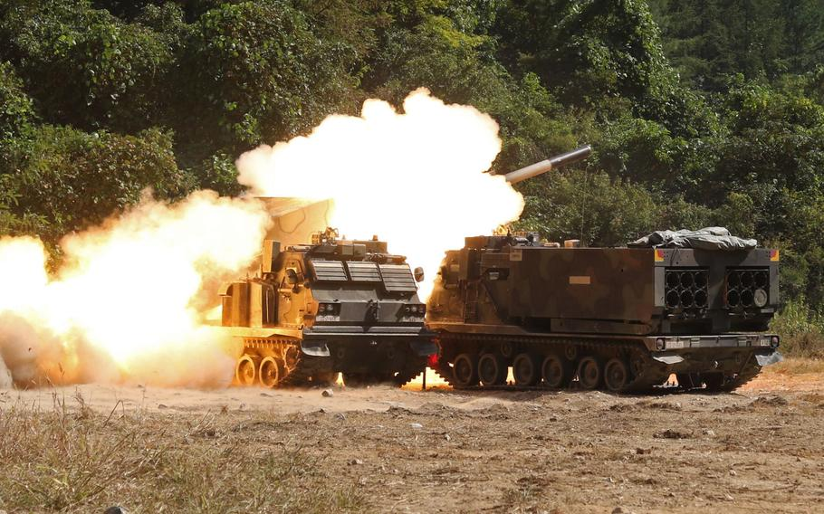 An M270 multiple launch rocket system fires during a live fire training exercise at Rocket Valley, South Korea, Sep. 25, 2017. The 41st Field Artillery Brigade, a Multiple Launch Rocket System unit, was reactivated at the U.S. Army Garrison Bavaria, Friday, Nov. 30, 2018.