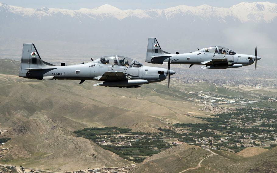 A formation of A-29 Super Tucanos fly over Kabul, Afghanistan, during a mission in 2016. The Afghan air force has recently conducted its first nighttime airstrikes after months of training by U.S. and international forces.