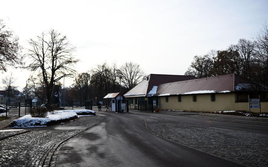The gate to the former U.S. Air Force base in Landsberg, Germany where Johnny Cash lived from 1951 to 1954, while serving as a Morse code listening specialist, now used by the Luftwaffe.