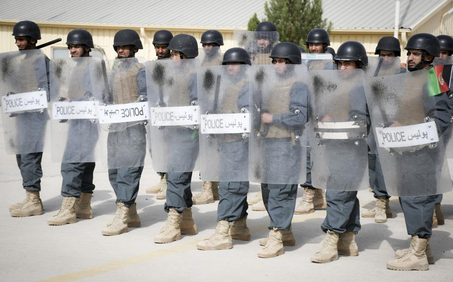Afghan police in training conduct a crowd-control drill at the Regional Police Training Center in Herat, Oct. 28, 2018. Responsibility for training police primarily belongs to Afghan mentors, with allied troops now focusing on advising at higher echelons and with Afghan special operations.